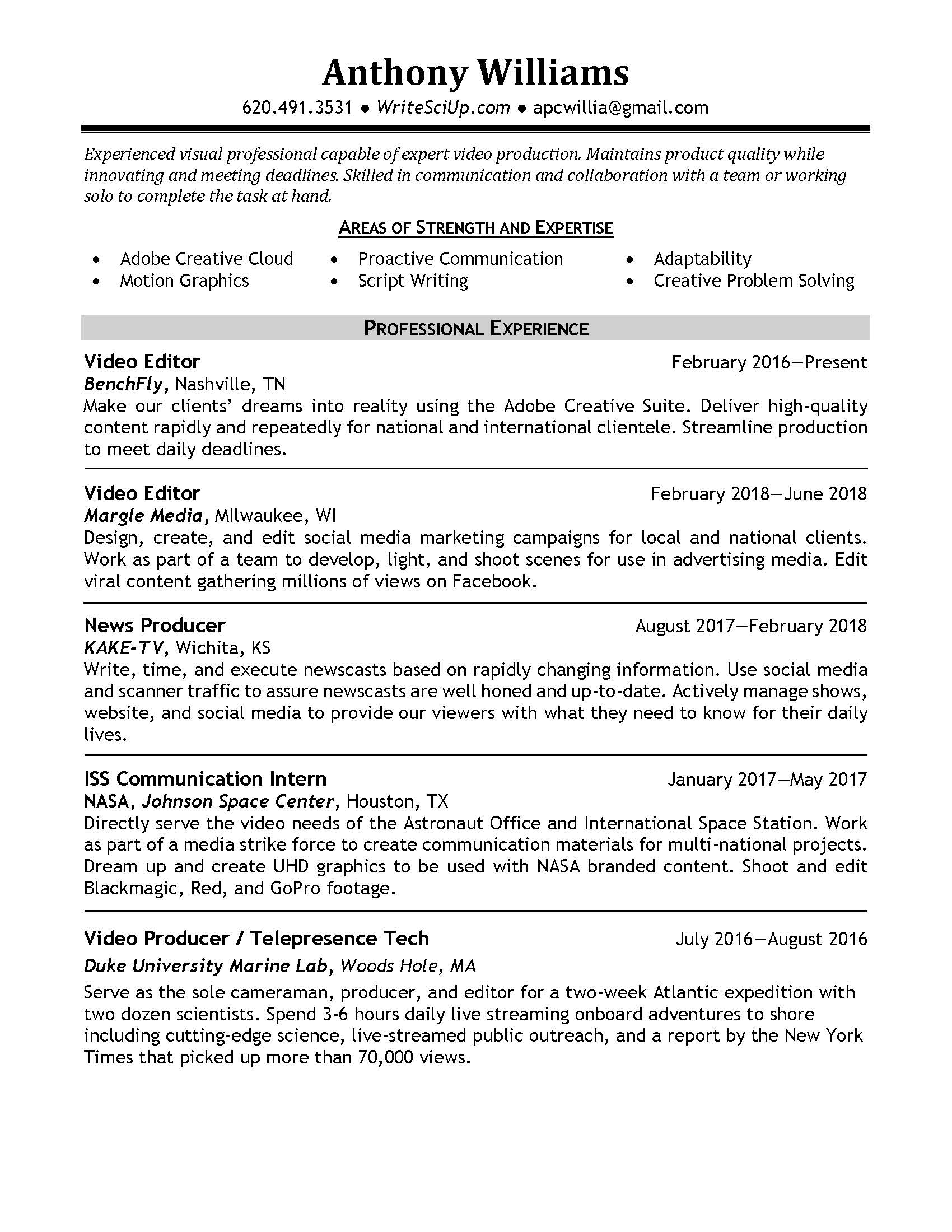 Resume – Anthony Williams
